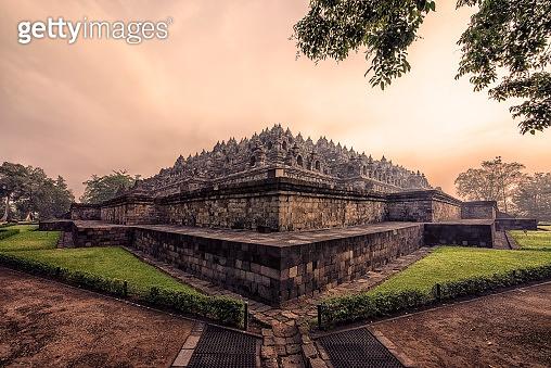 Borobudur complex in central Java, Indonesia