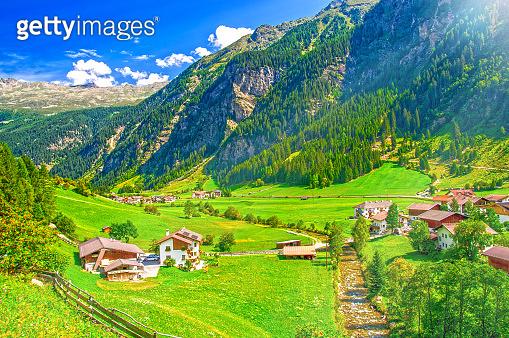 Rural landscape on mountain valley in Austria