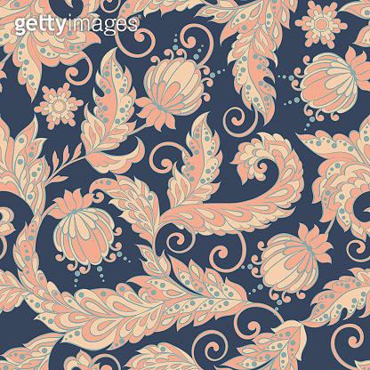 vintage floral seamless pattern in batik style