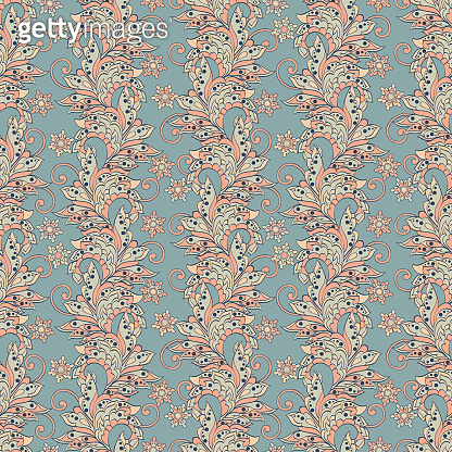 Floral Pattern in Indian Batik Style. Seamless Vector background