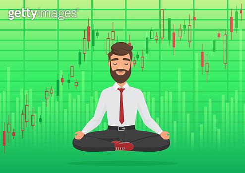 Happy man trader meditating under rising crypto or stock market exchange chart. Business trader, finance stock market graph concept. Growing bullish green profit stock Market. Balance feeling.