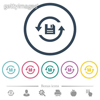 Daily backup flat color icons in round outlines