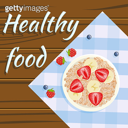 Oatmeal strawberry banana healthy food flatlay fruits plate wooden background flat design vector illustration
