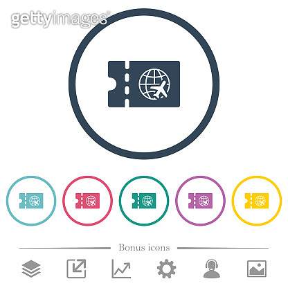 World travel discount coupon flat color icons in round outlines