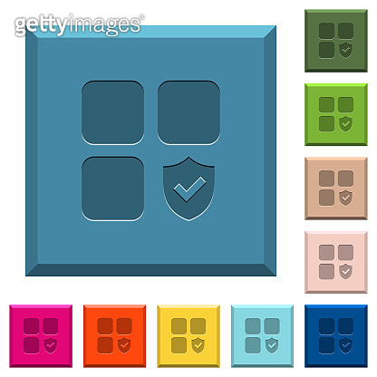 Protected component engraved icons on edged square buttons