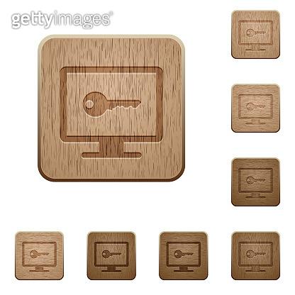 Secure desktop wooden buttons