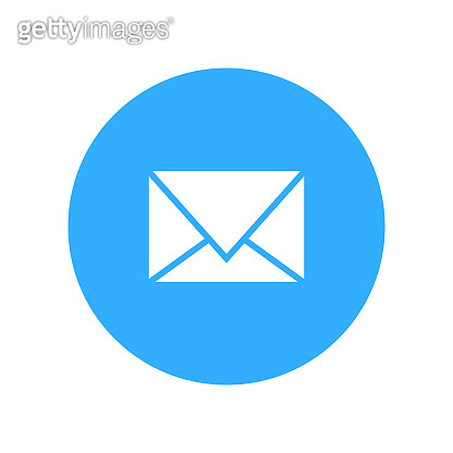 mail icon blue white color vector