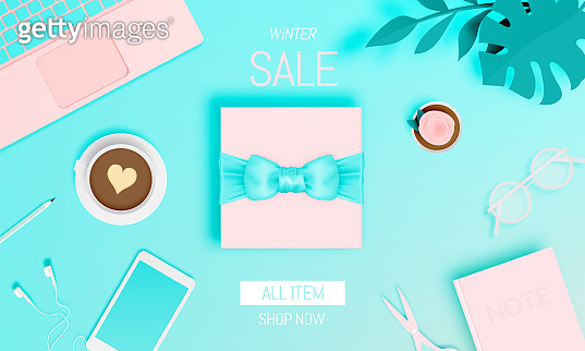Gift box in winter sale theme with pastel color scheme