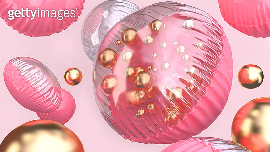 3d rendering pink clear glossy balloon group floating abstract celebration background