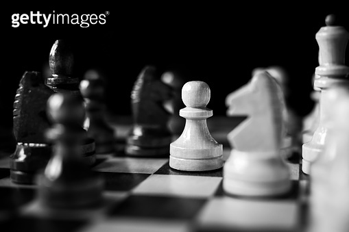 Chess board game competition. Business strategy concept