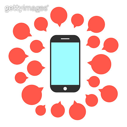 smart phone with set of speech bubbles