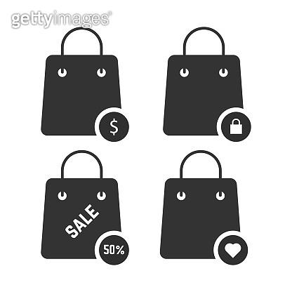 set of black shopping bags