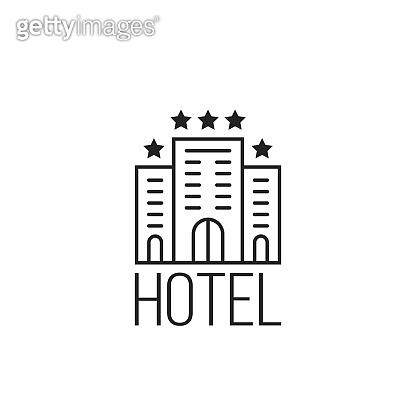 linear simple icon of luxury hotel with stars