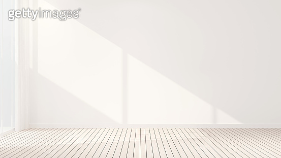 white empty room design room for rent or other room - Interior simple design - 3D Rendering