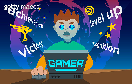 Video game addiction flat illustration, the young