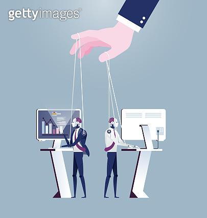Hand controlling AI robot puppet. Artificial Intelligence Technology Vector
