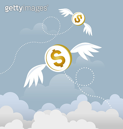 Coin dollar with wings flying in the sky. Lost money concept