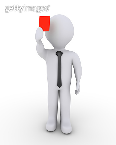 Businessman is showing red card