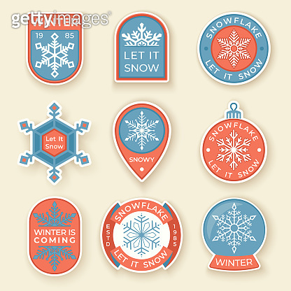 Winter labels and badges elements. Set of Christmas and holidays objects and symbols. Collection of snowflakes badges and logo patches