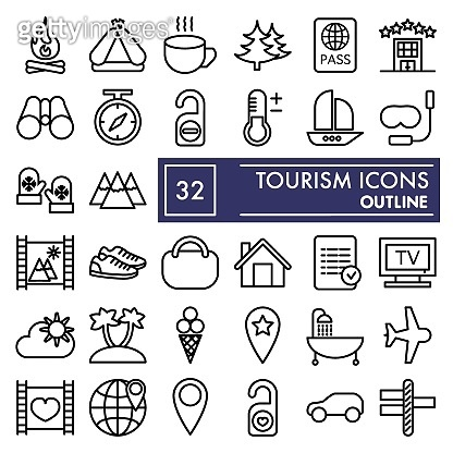 Tourism line icon set, travel symbols collection, vector sketches, logo illustrations, vacation signs linear pictograms package isolated on white background, eps 10.