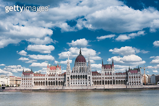 Hungarian Parliament on the embankment of Danube river in Budapest, Hungary