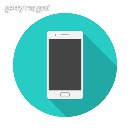 Mobile phone circle icon with long shadow. Flat design style. Smart phone simple silhouette.