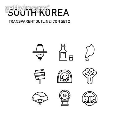 south korea transparent outline icon set 2