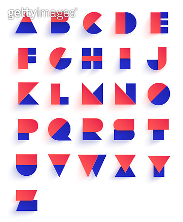 Colorful geometric font design. Abstract modern lettering. Vector alphabet set.