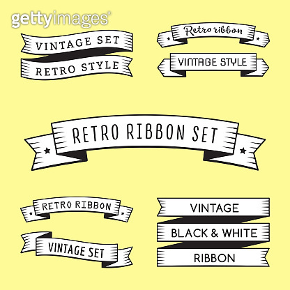 Black and white vintage ribbons in engraving style vector set. Part three.