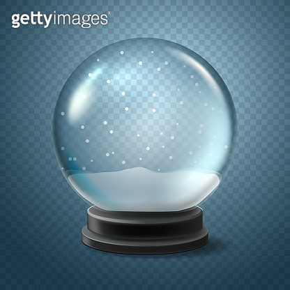 Christmas snow globe isolated on transparent background. Vector 3d illustration.  Winter Xmas toy. Crystal ball with falling snow.