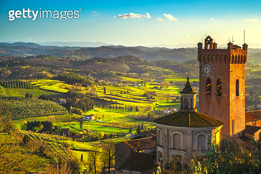 San Miniato bell tower of the cathedral. Pisa, Tuscany Italy Europe.