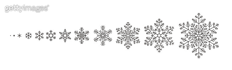 Winter Snowflake icons, from small to big