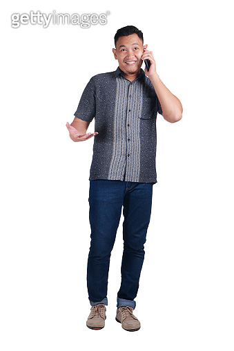 Young Man Talking on Phone, Happy Expression