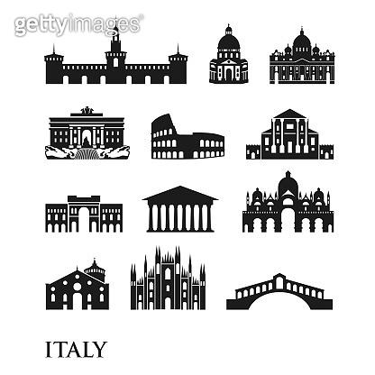 Set of Italy symbols, landmarks in black and white. Vector illustration. Rome, Venice, Milan, Italy