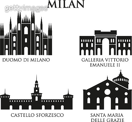 Set of Italy architecture landmarks, pictogram in black and white