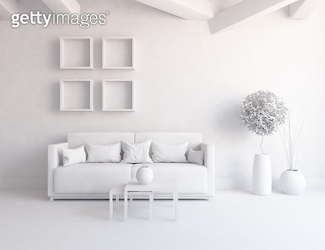 Idea of a white scandinavian room interior with large wall and white landscape in window. Home nordic interior. 3D illustration