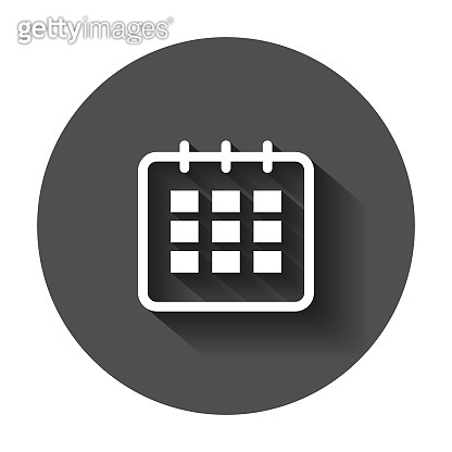 Calendar agenda vector icon in flat style. Reminder illustration with long shadow. Calendar date concept.