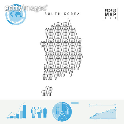 South Korea People Icon Map. Stylized Vector Silhouette of South Korea. Population Growth and Aging Infographics