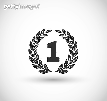 The Winner icon with laurel vector