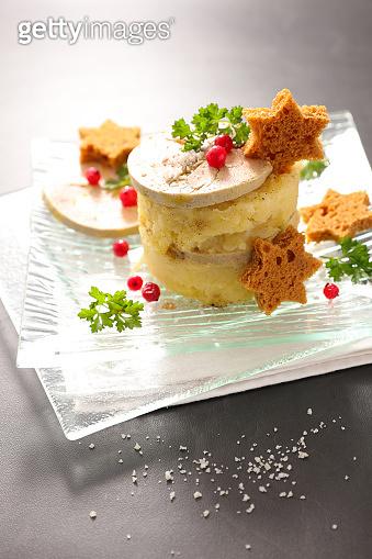 mashed potato with foie gras