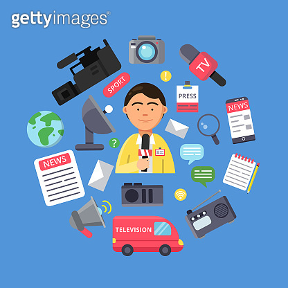 Media concept with picture of journalist and various specific equipment for broadcasting and copyrighting work