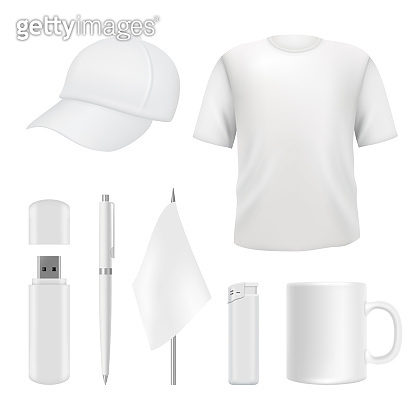 Souvenirs templates. Promotional branding gifts empty elements. Blank business identity on white