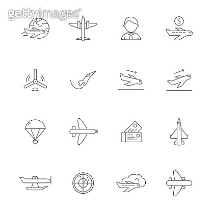 Aircraft line icons. Airplane travelling symbols of avia company vector outline pictures