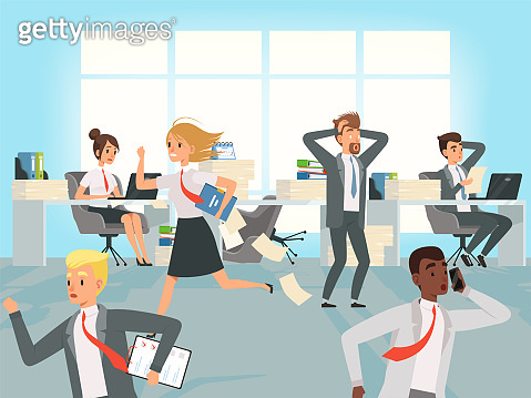 Office deadline. Business workers managers stress running on workplaces at work vector characters