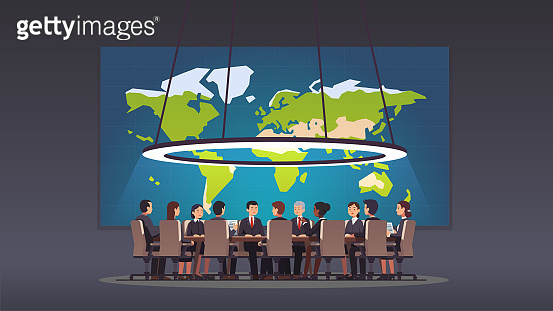 Corporate business man & women people sitting at round table in big board room. Politicians & executive officers group discussing strategy. Big war room with world map. Conference hall, boardroom or meeting room. Flat style isolated vector