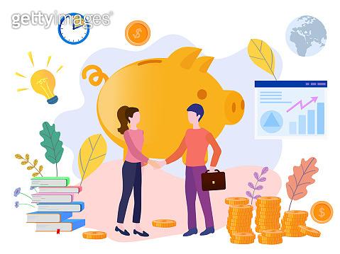 Concept piggy bank, successful team, for web page, banner, presentation, social media, posters. Vector illustration financing, big profit, golden coins, teamwork, startup, Money Growth, financial