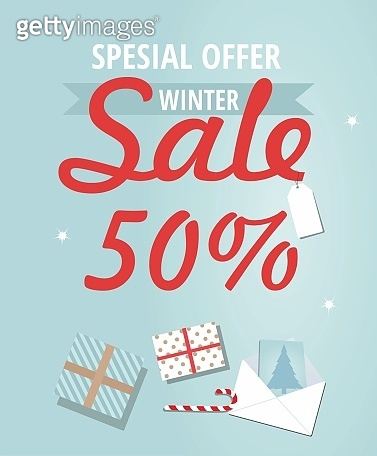 Winter sale banner with presents and greeting card.