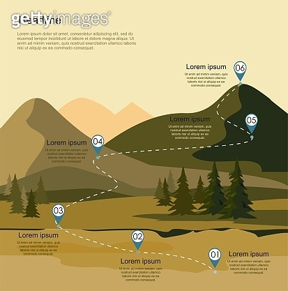 Mountain landscape with fir forest. Tourism route infographic.