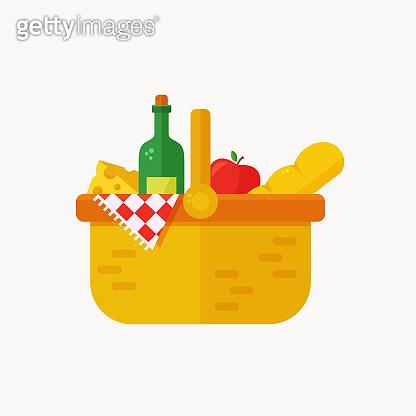Picnic basket flat icon isolated on white background. Vector.