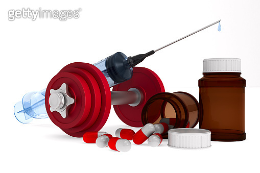 medical and dumbbell syringe on white background. Isolated 3D illustration